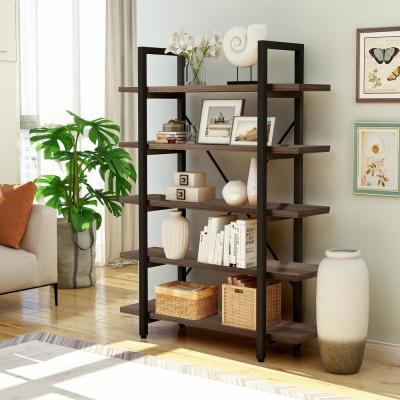 63 in. Brown/Black Metal 5-shelf Etagere Bookcase with Open Back