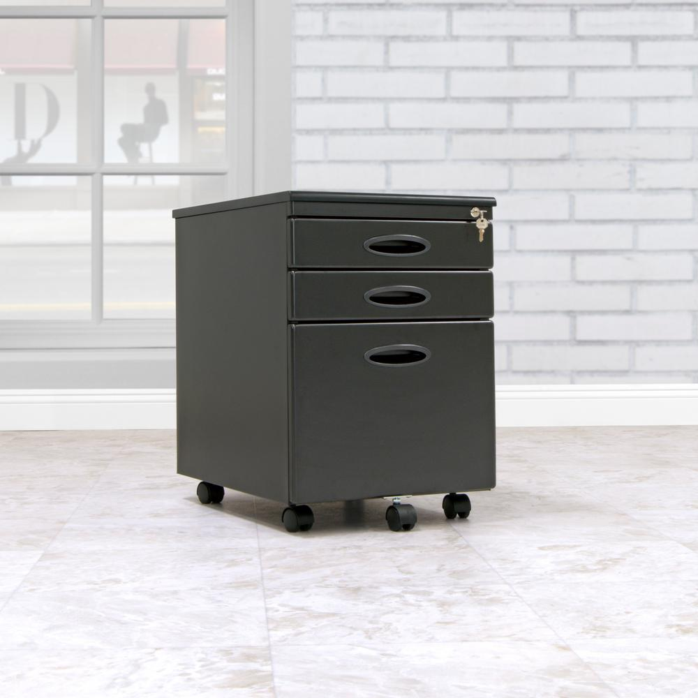 D Black Metal 3 Drawer Mobile File Cabinet With Lock And Key