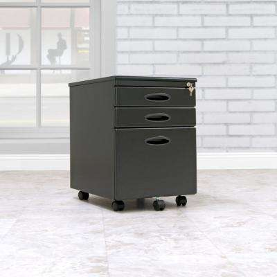 Letter / Legal 15.75 in. W x 22 in. D Black Metal 3-Drawer Mobile File Cabinet with Lock and Key