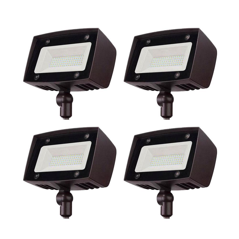 350-Watt Equivalent Bronze Outdoor Integrated LED Flood Light, 5000 Lumens, Dusk to Dawn Light(4-pack)