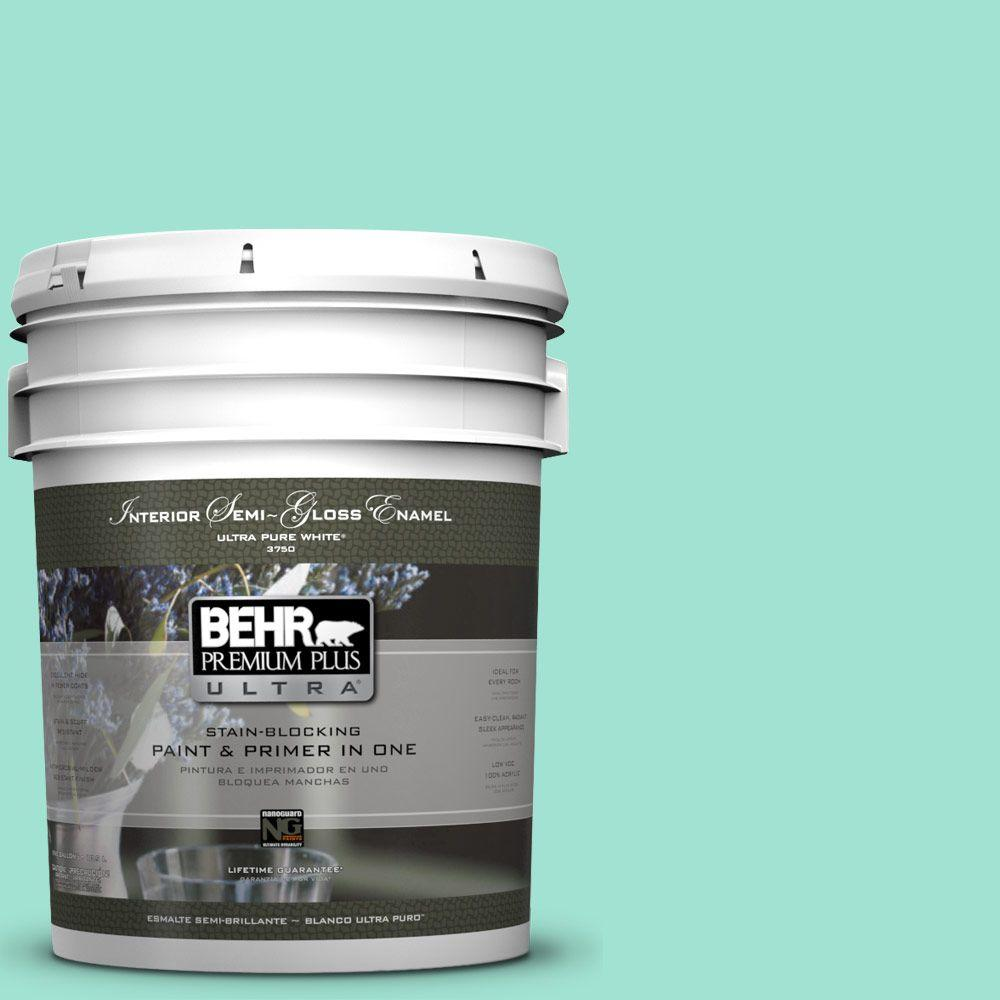 BEHR Premium Plus Ultra 5-gal. #P430-2 Aqua Wish Semi-Gloss Enamel Interior Paint