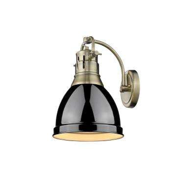 Duncan AB 1-Light Aged Brass Sconce with Black Shade