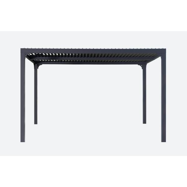 Novara 10 ft. x 12 ft. Gray Structure Louvered Pergola