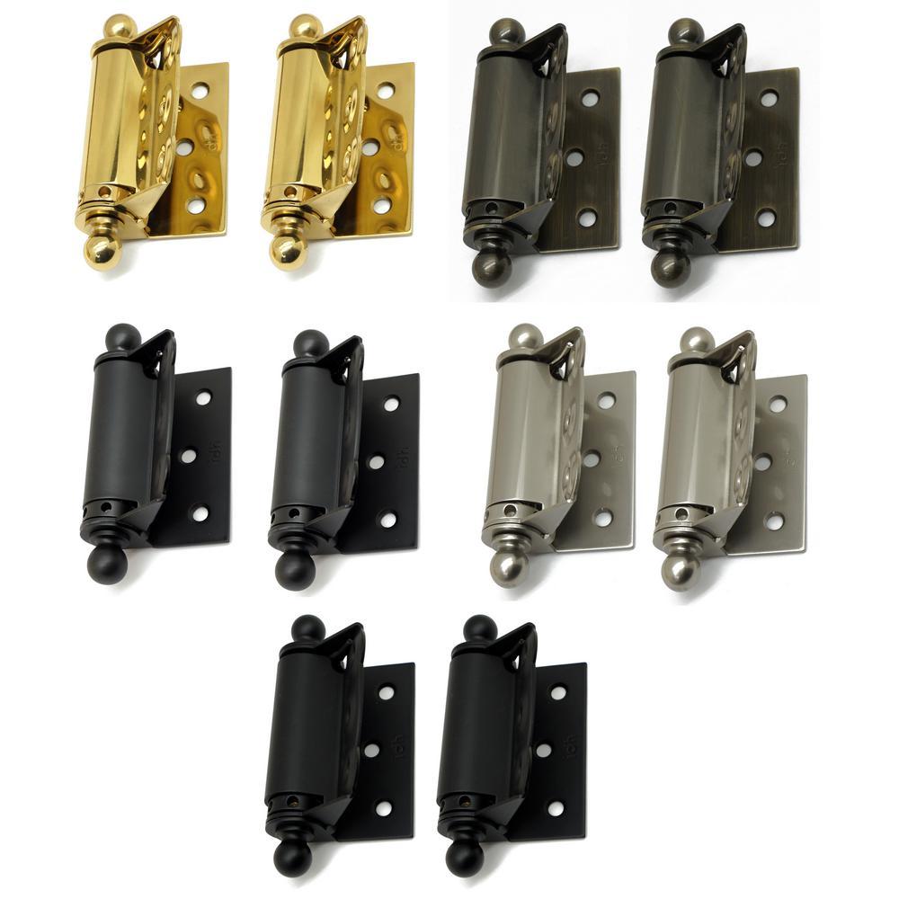 1-1/2 in. x 2-3/4 in. Solid Brass Adjustable Half Surface Screen Door Hinge with Ball Finials in Satin Nickel (1-Pair)