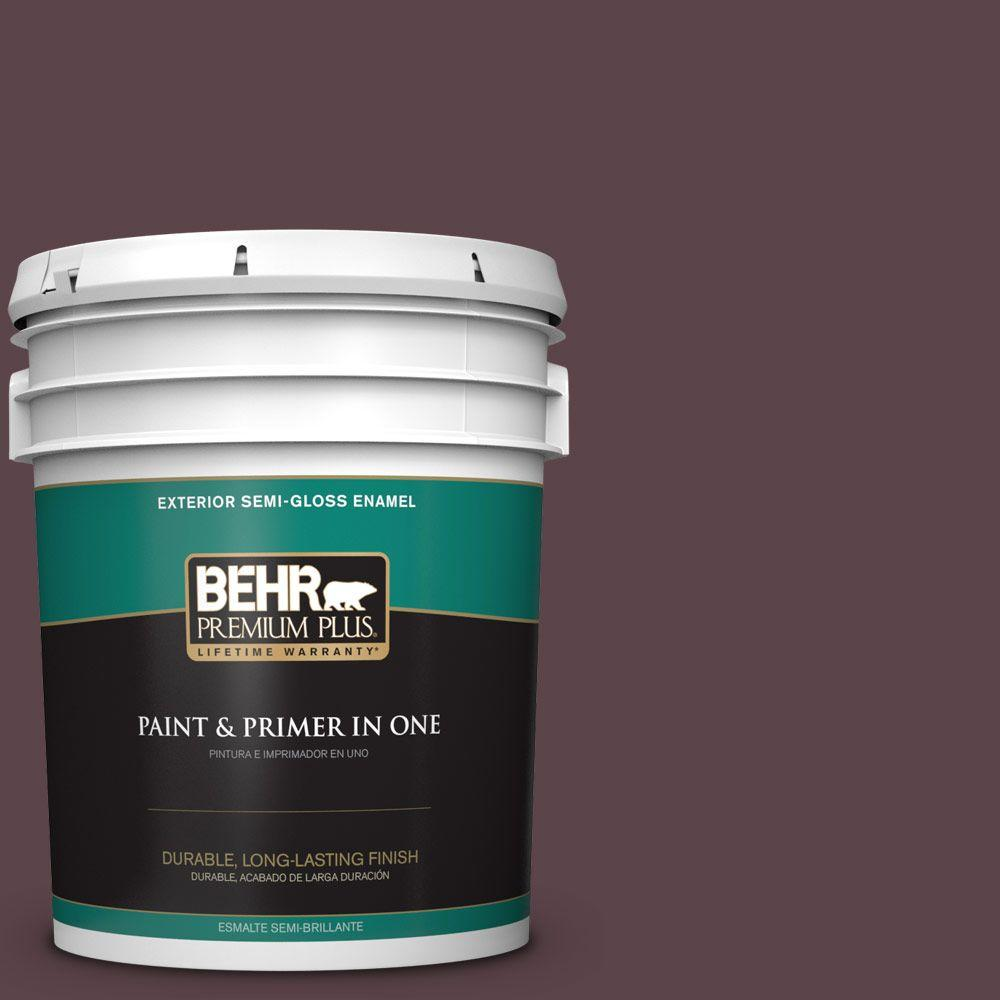 BEHR Premium Plus 5-gal. #HDC-CL-07 Dark Berry Semi-Gloss Enamel Exterior Paint