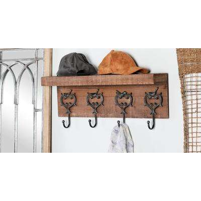 Brown Wood Wall Hook Rack with Black Iron Ornate Hooks