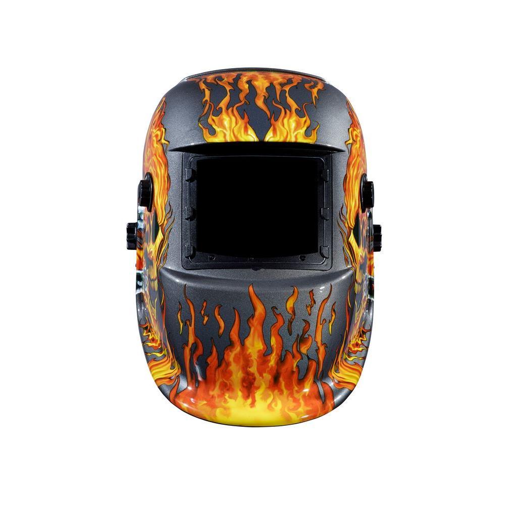 Welding Helmet Skull Flame