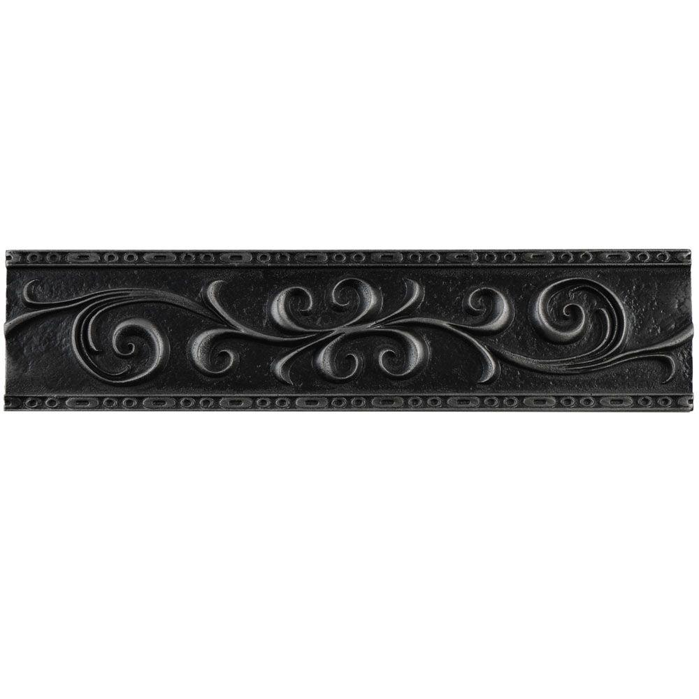 Merola Tile Contempo Scroll Liner Wrought Iron 3 In X 12