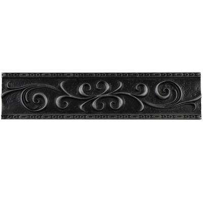 Contempo Scroll Liner Wrought Iron 3 in. x 12 in. Travertine Metallic Wall Trim Tile