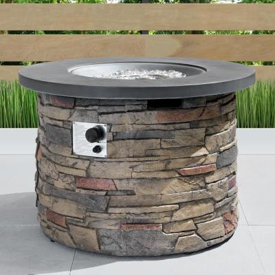 Sage 35 in. x 24 in. Round Stone Propane Fire Pit Table with Storage Cover