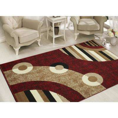 Clifton Collection Modern Circles Design Red 5 Ft X 7 Area Rug