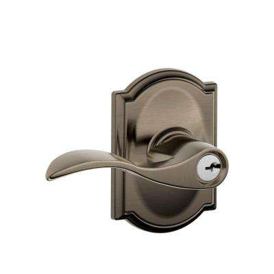 Accent Antique Pewter Entry Door Lever with Camelot Trim - Pewter - Door Levers - Door Hardware - The Home Depot