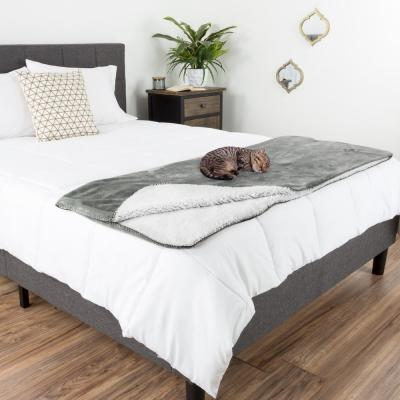 Gray Polyester Waterproof Throw