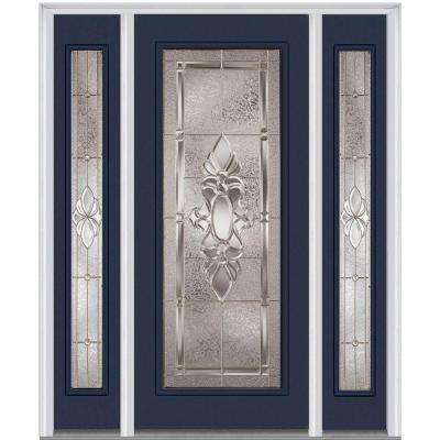 64.5 in. x 81.75 in. Heirlooms Right-Hand Inswing Full Lite Decorative Fiberglass Smooth Prehung Front Door w/ Sidelites