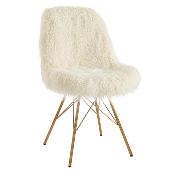 Catie Cream Faux Fur Chair with Gold Metal Base