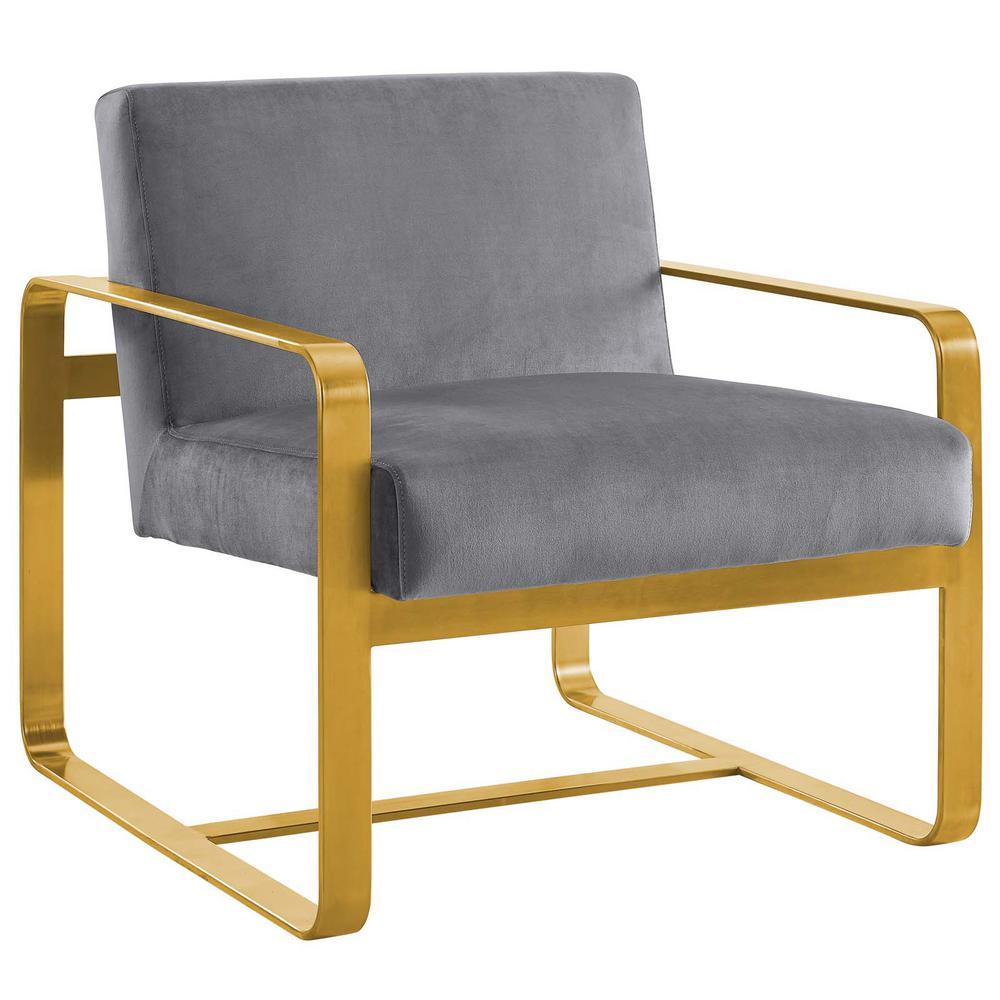 Astute Gray Upholstered Velvet Armchair