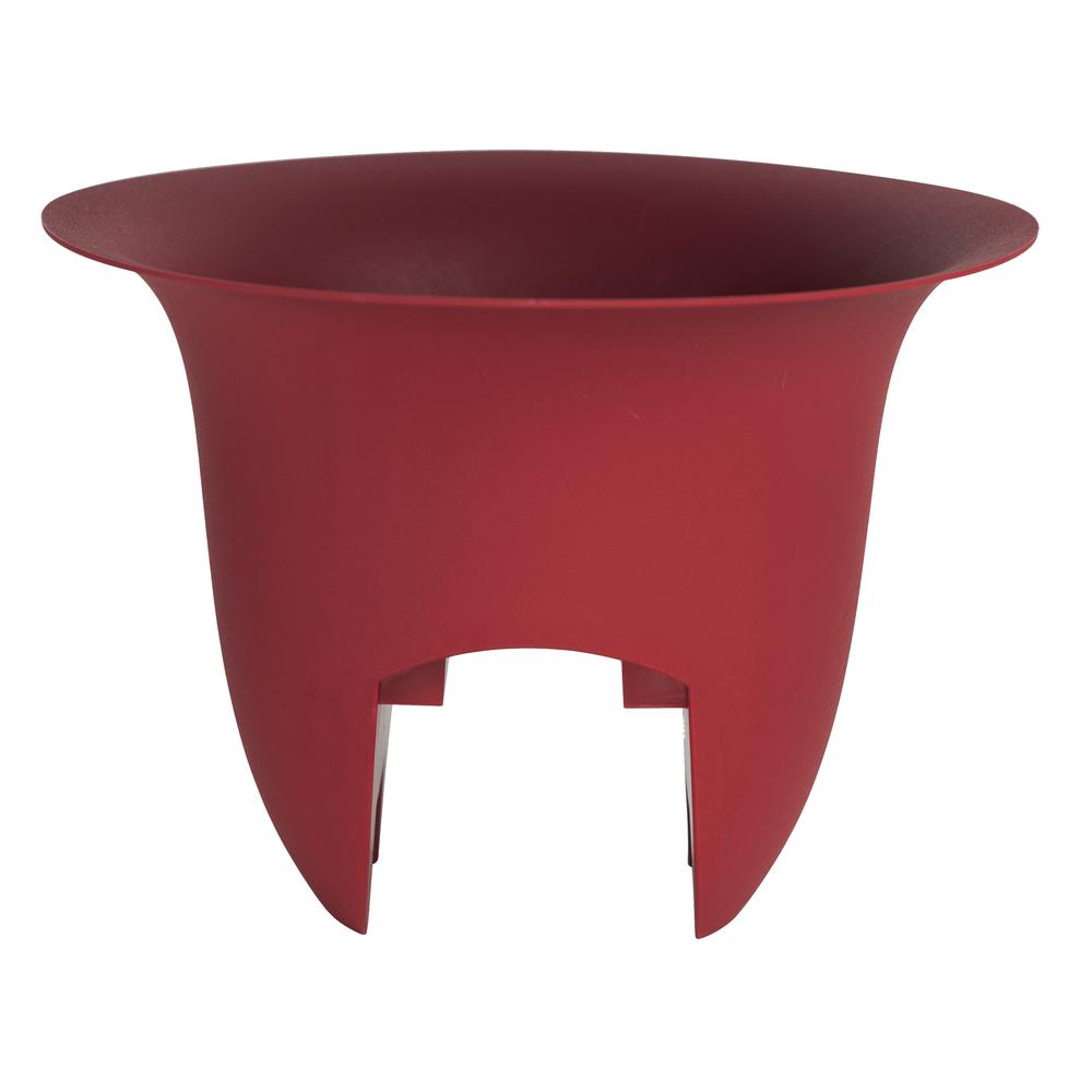 Bloem Modica 12 in. x 8.75 in. Burnt Red Plastic Deck Rail Planter