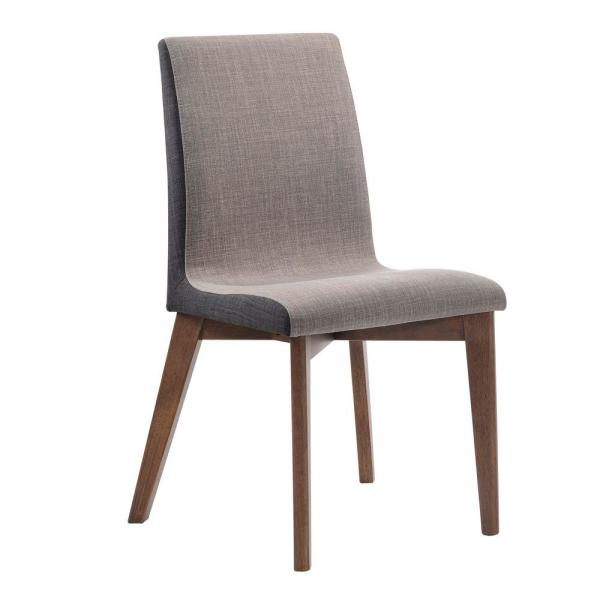 Wooden Gray and Walnut Brown Armless Dining Side Chair (Set of 2)