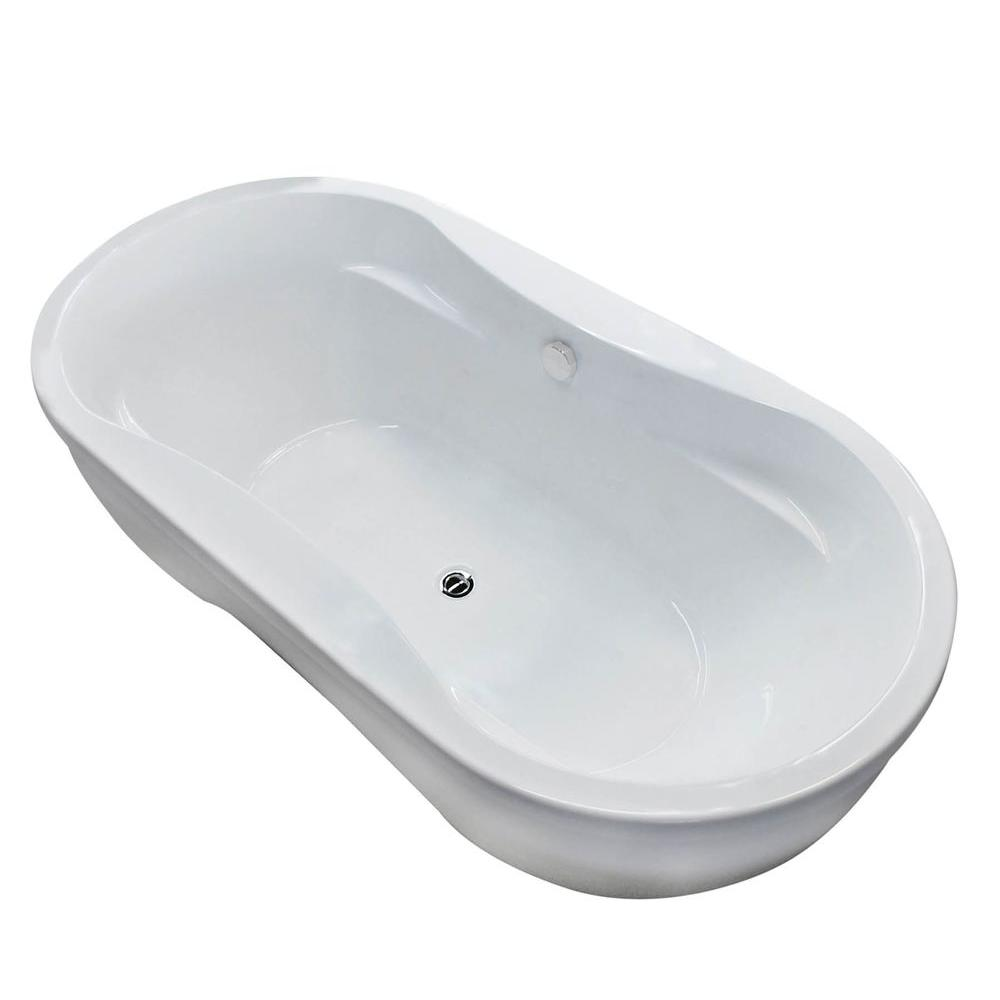 Agate 6 ft. Acrylic Center Drain Rectangular Bathtub in White