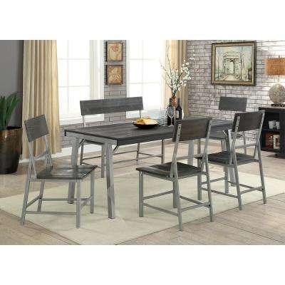 Nunez Silver and Gray Industrial Style Dining Table