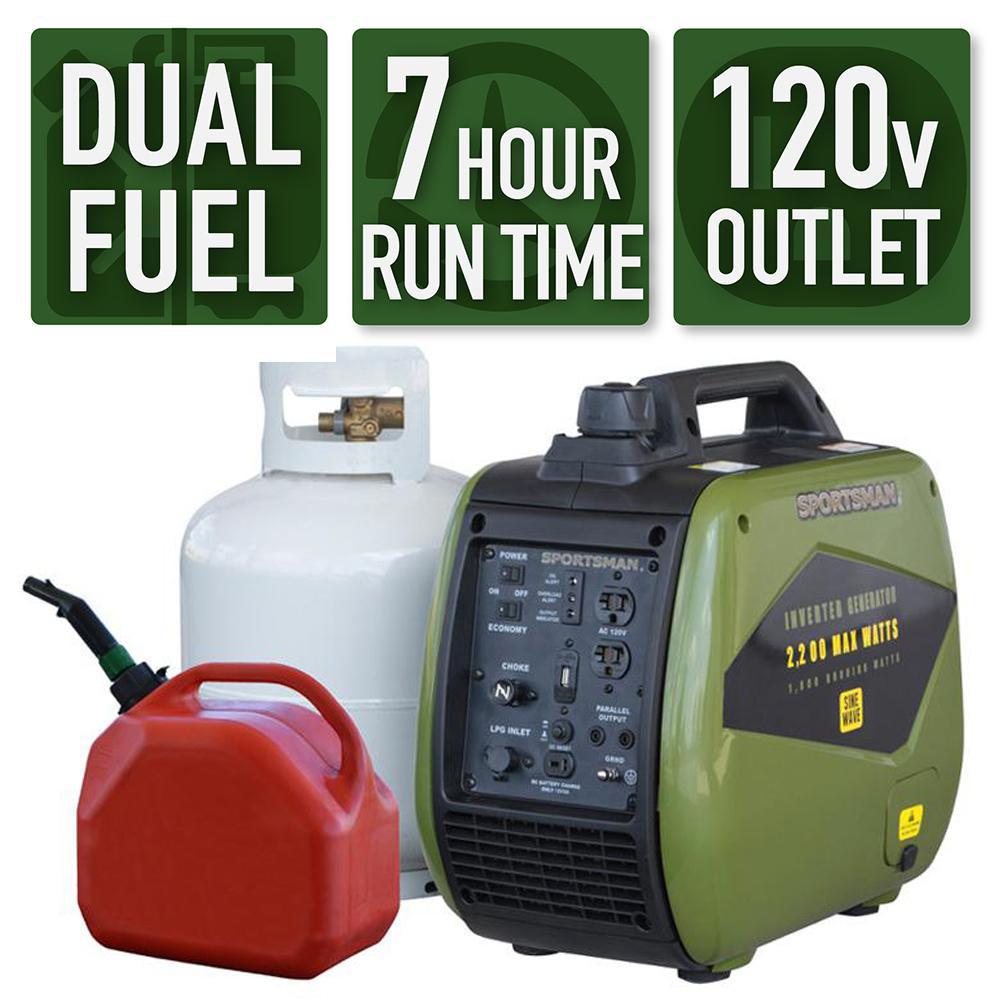 Sportsman 2,200/1,800 Watt Dual Fuel LPG/Gasoline Portable Inverter Generator