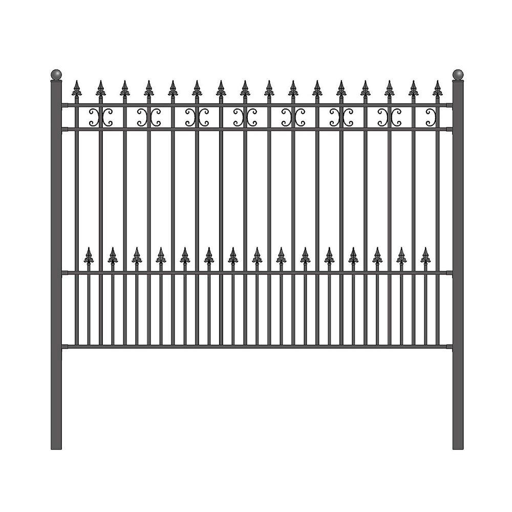 St. Petersburg 5 ft. x 8 ft. Black Steel Fence Panel