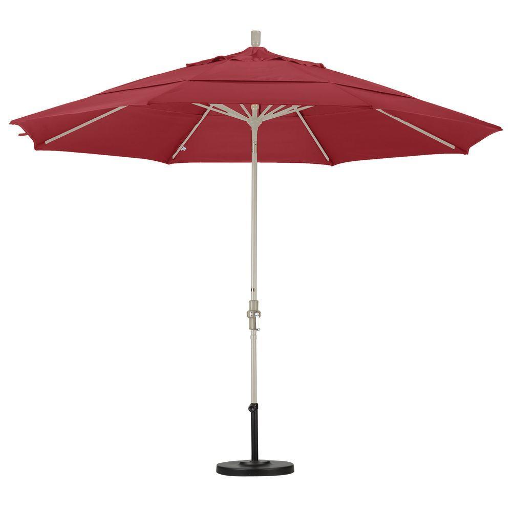 Beautiful Aluminum Collar Tilt Double Vented Patio Umbrella In Red