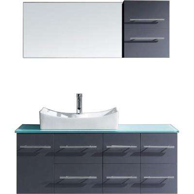 Ceanna 54 in. W Bath Vanity in Gray with Glass Vanity Top in Aqua Tempered Glass with Square Basin and Mirror and Faucet