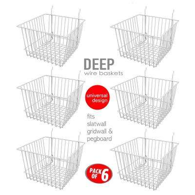 8 in. x 12 in. x 12 in. D Wire Storage Baskets For Gridwall, Slatwall and Pegboard - White