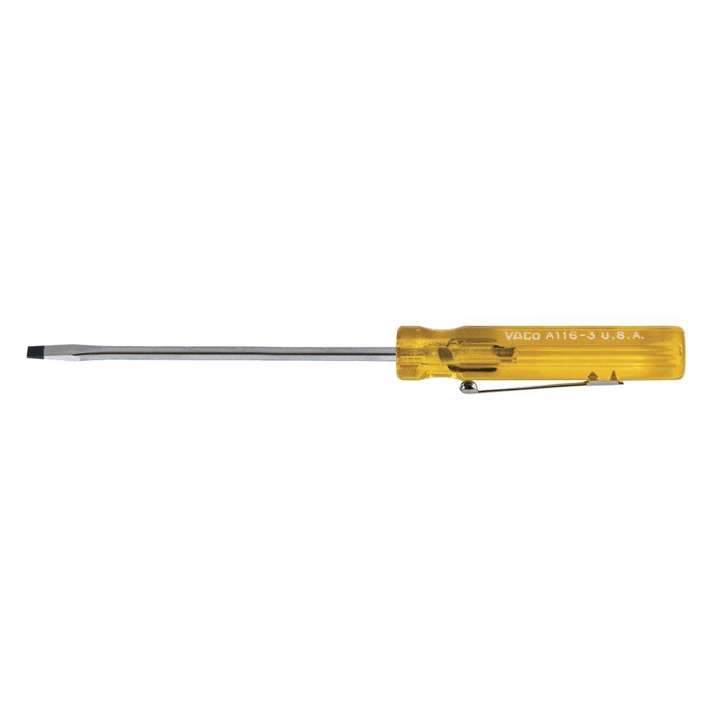 Klein Tools 3/32 in. Cabinet-Tip Pocket Clip Flat Head Screwdriver with 3 in. Round Shank