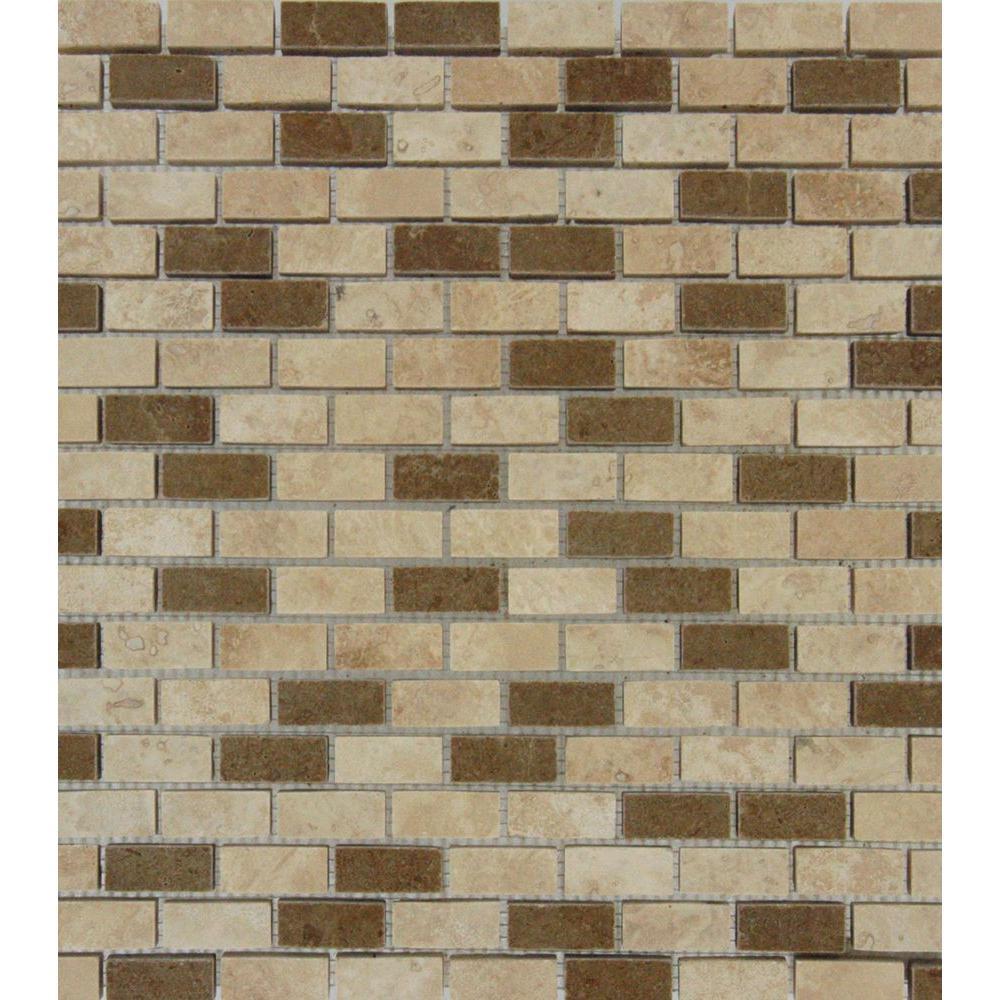 MS International Noche/Chiaro Mini Brick 12 in. x 12 in. x 10 mm Honed Travertine Mesh-Mounted Mosaic Tile