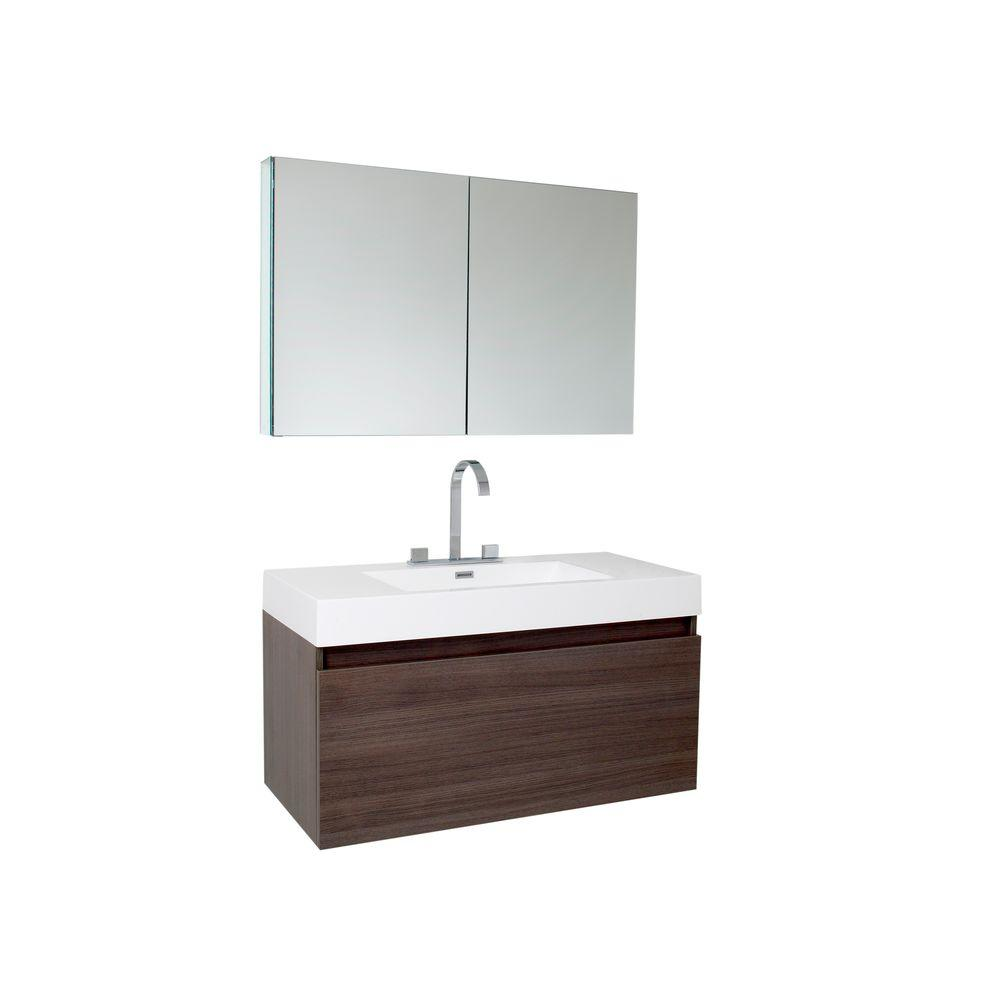 Fresca Mezzo 40 in. Vanity in Gray Oak with Acrylic Vanity Top in White with White Basin and Mirrored Medicine Cabinet