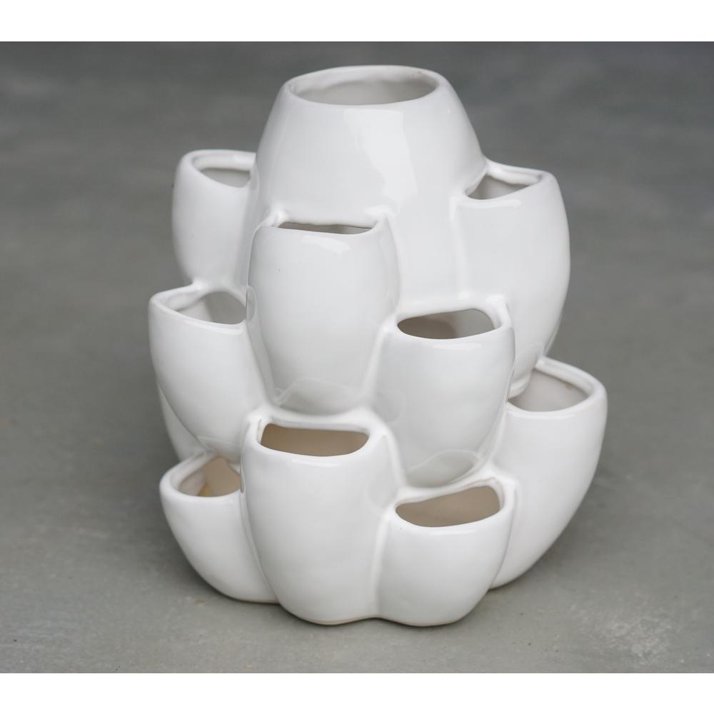 Dia White Ceramic Strawberry Jar With 16 Pockets