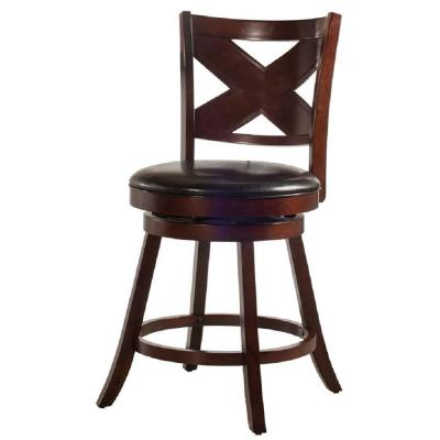 Ashbrook 25.76 in. Cherry Swivel Counter Stool
