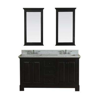 Richmond 60 in. W x 22 in. D Vanity in Espresso with Marble Vanity Top in White with White Basin and Mirror