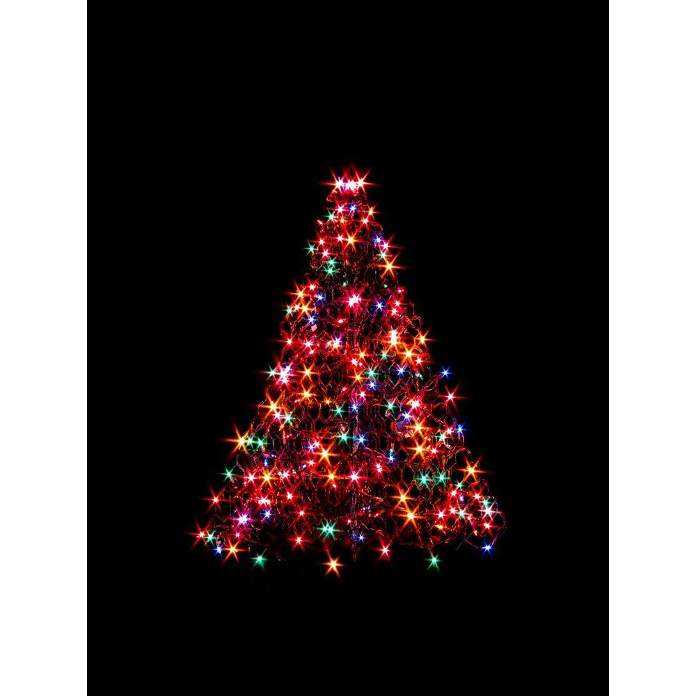 Crab Pot Trees 3 ft Indoor Outdoor Pre Lit Incandescent Artificial Christmas Tree with Green Frame and 200 Multi Color Lights