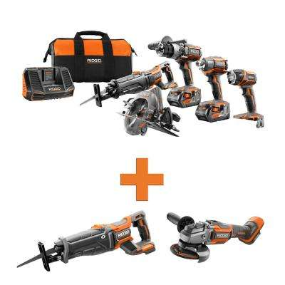18-Volt Lithium-Ion Cordless 5-Tool Combo w/Bonus OCTANE Brushless Reciprocating Saw & OCTANE Brushless Angle Grinder
