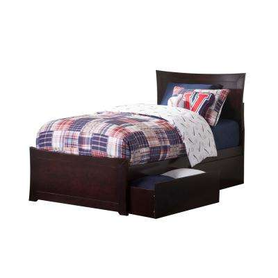 Metro Espresso Twin Platform Bed with Matching Foot Board with 2-Urban Bed Drawers