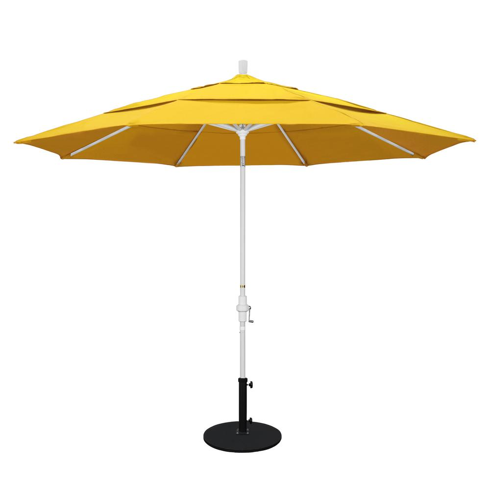 11 ft. Aluminum Collar Tilt Double Vented Patio Umbrella in Lemon