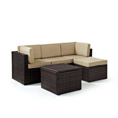 Palm Harbor 5-Piece Wicker Outdoor Sectional Set With Sand Cushions