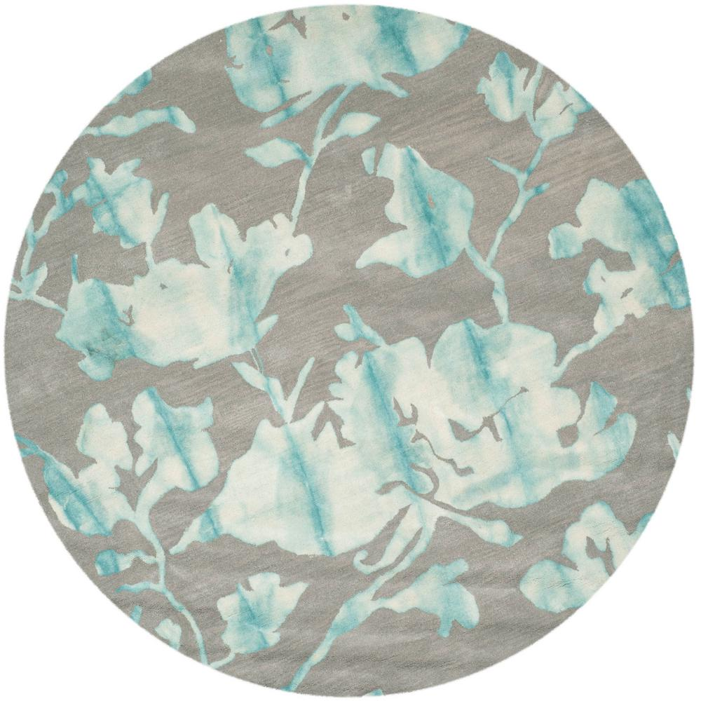 Turquoise Area Rug 8x10: Safavieh Dip Dye Gray/Turquoise 7 Ft. X 7 Ft. Round Area