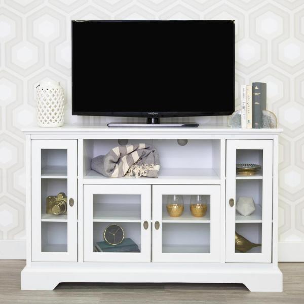 Highboy 52 in. White Composite TV Stand 55 in. with Glass Doors
