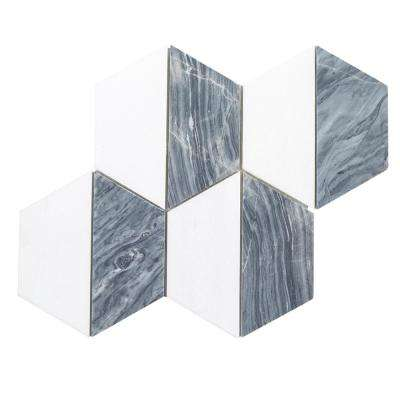 Kensington Gray Honeycomb 10.125 in. x 12 in. x 8mm Marble Mosaic Tile