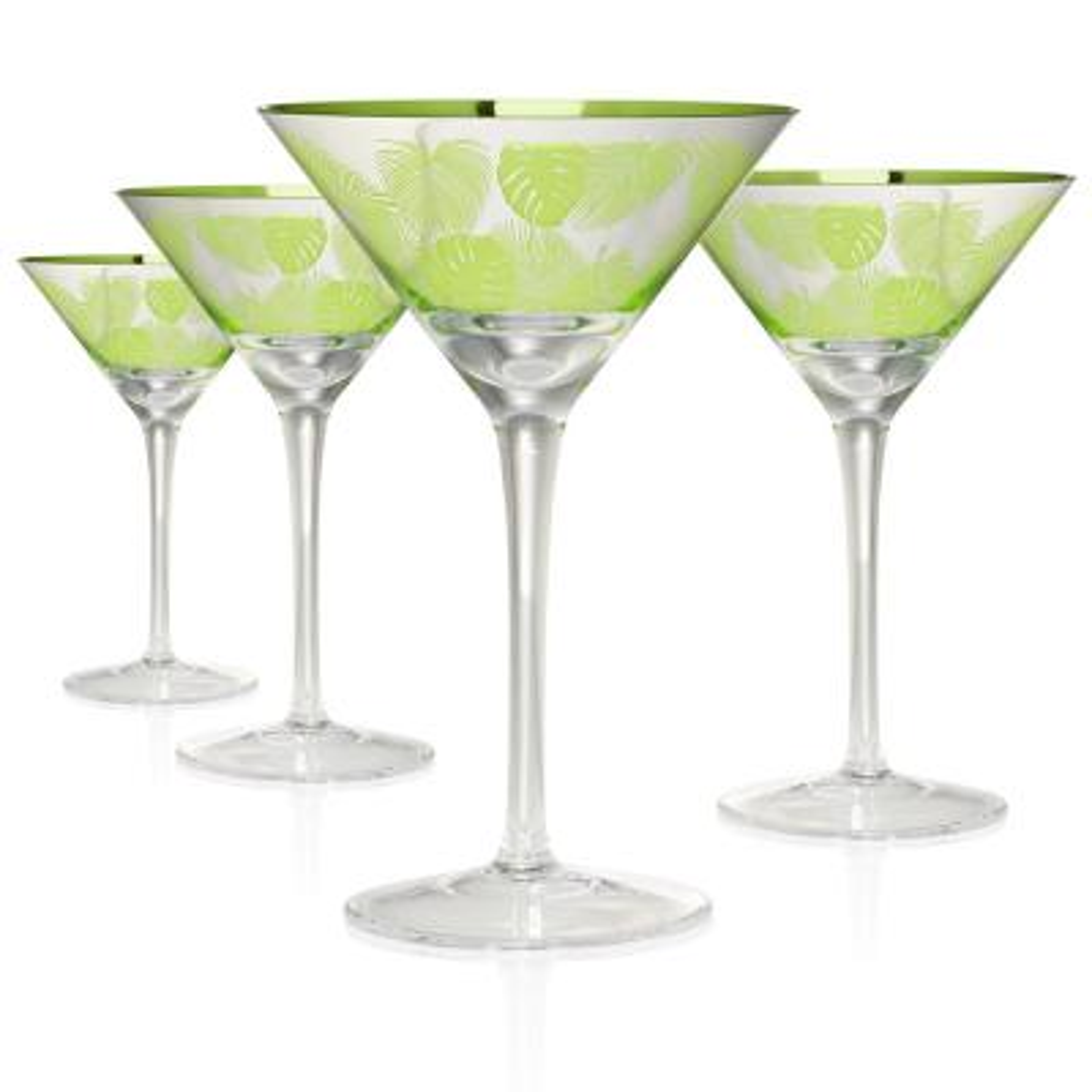 Tropical Leaves Martini 10 oz. Glasses (Set of 4)