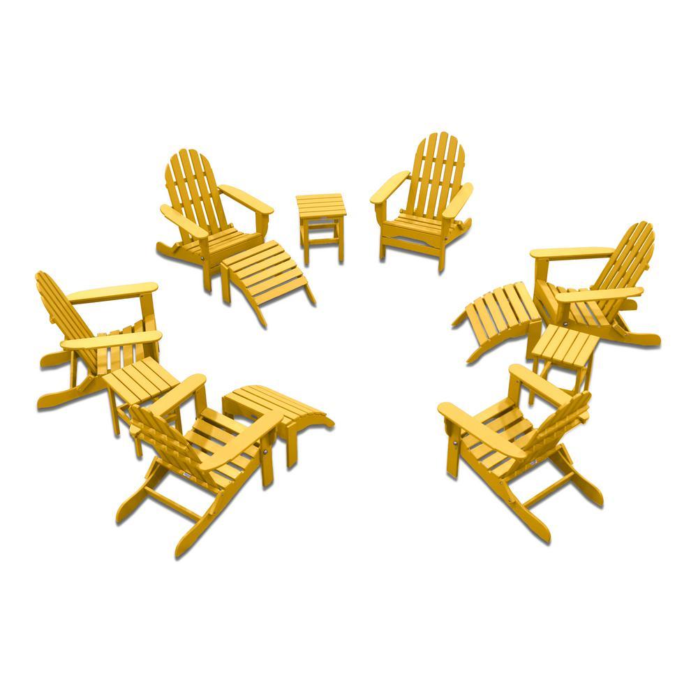 Icon Lemon Yellow 12-Piece Plastic Adirondack Patio Conversation Seating Set