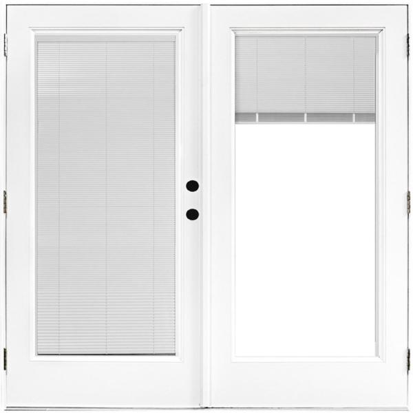 72 in. x 80 in. Fiberglass Smooth White Left-Hand Outswing Hinged Patio Door with Low E Built in Blinds