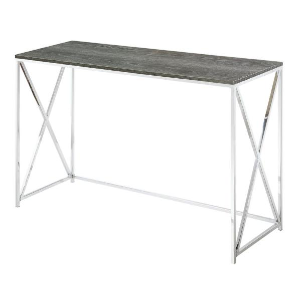 Belaire Chrome and Weathered Gray Console Table