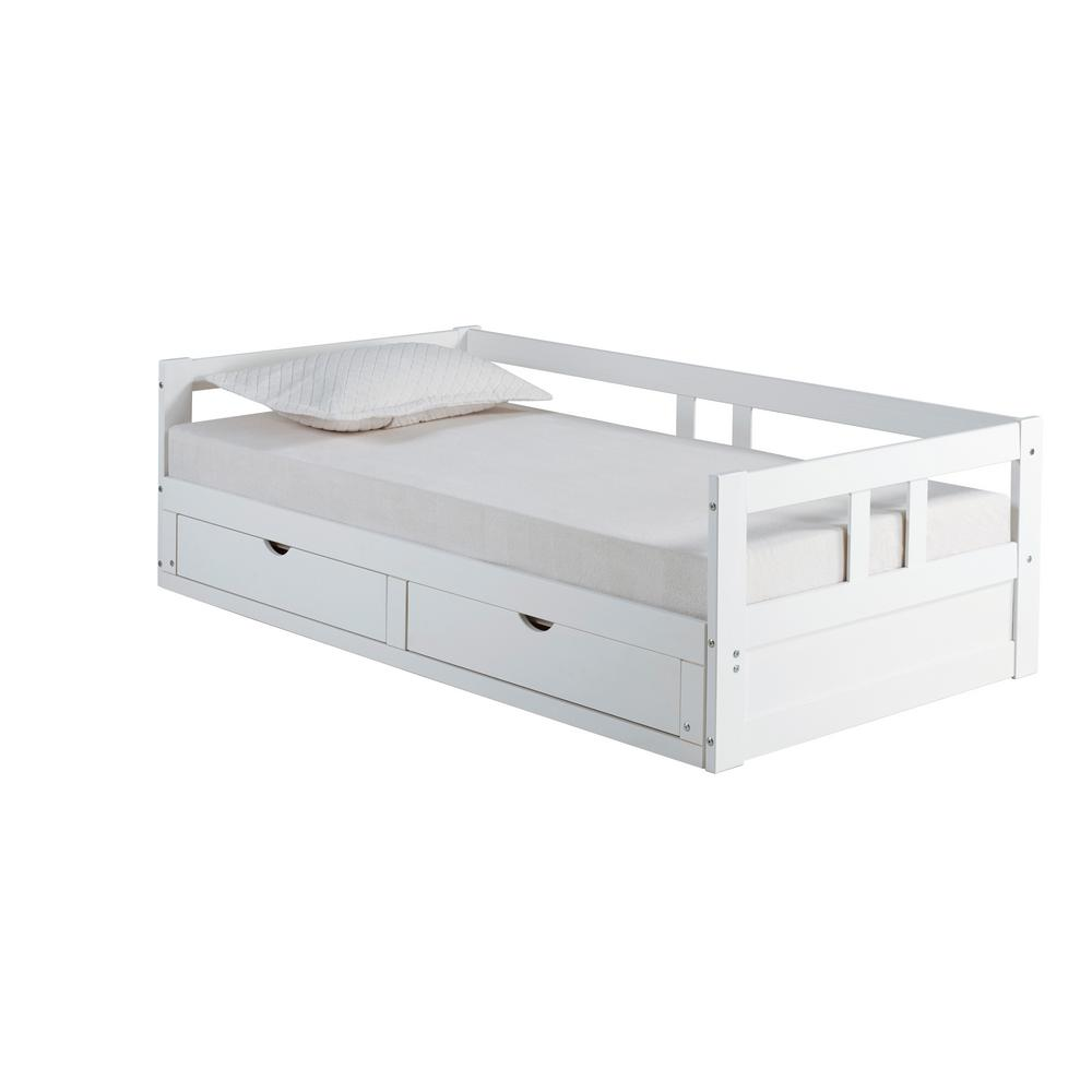 Alaterre Furniture Alaterre Furniture Melody White Twin to King Bed with Under Bed Storage
