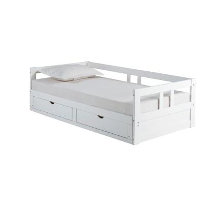 Melody White Twin to King Bed with Under Bed Storage