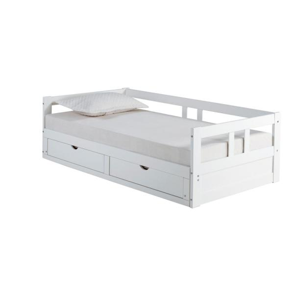 Alaterre Furniture Melody White Twin To King Bed With